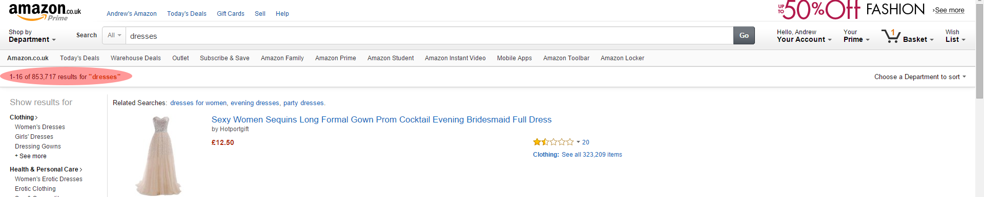 Dress search results